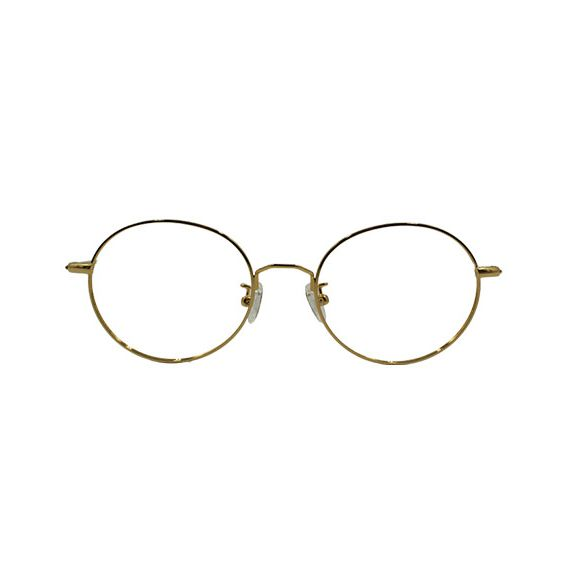 Woman round glasses brown